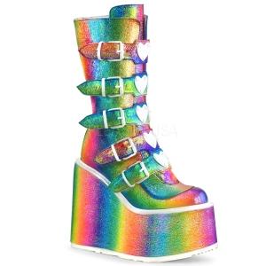 Arc en ciel Glitter 14 cm SWING-230 bottes cyberpunk plateforme