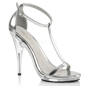 Argent 12,5 cm Fabulicious POISE-526 sandales à talons aiguilles