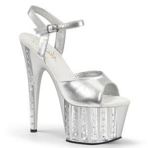 Argent 18 cm ADORE-709VLRS chaussures à talons plateforme strass