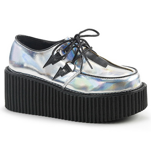 Argent CREEPER-218 Chaussures Creepers Femmes Plateforme