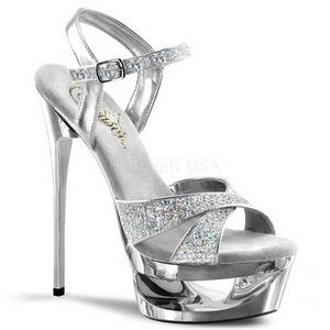 Argent Etincelle 16,5 cm Pleaser ECLIPSE-619G Chaussures Stilettos