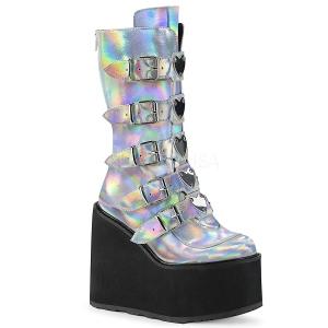 Argent Hologramme 14 cm SWING-230 bottes cyberpunk plateforme