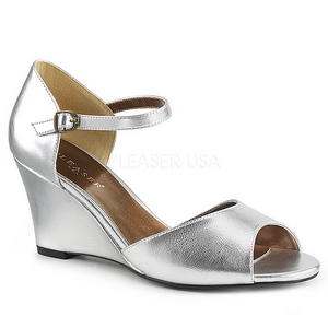Argent Similicuir 7,5 cm KIMBERLY-05 grande taille sandales femmes