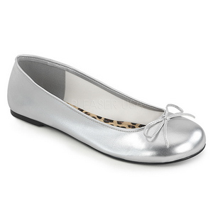 Argent Similicuir ANNA-01 grande taille chaussures ballerines