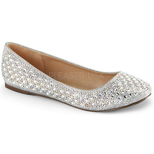 Argent TREAT-06 pierre cristal chaussures ballerines femmes plates