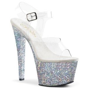 Argent paillettes 18 cm Pleaser SKY-308LG chaussure à talons de pole dance