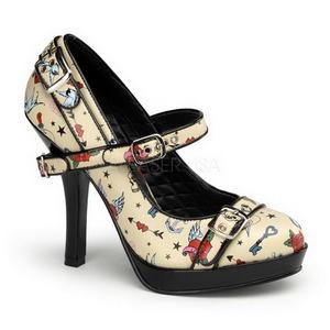 Beige 12 cm PINUP SECRET-14 Mary Jane Escarpins Chaussures