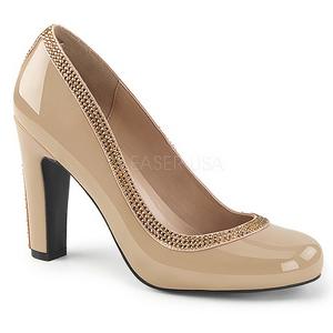 Beige Verni 10 cm QUEEN-04 grande taille escarpins femmes