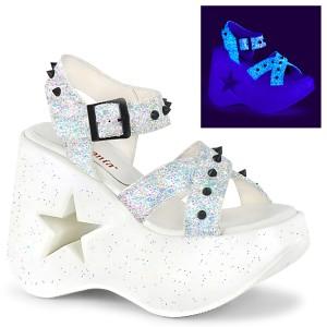 Blanc 13 cm Demonia DYNAMITE-02 sandales lolita talons compensées