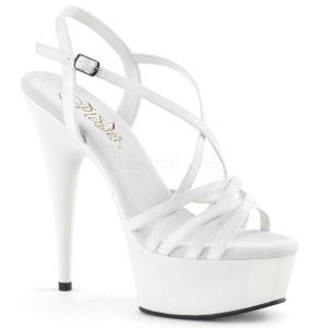 Blanc 15 cm Pleaser DELIGHT-613 Sandales femme à talon