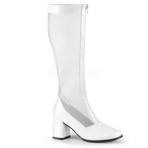Blanc 7,5 cm GOGO-307 bottes filet pour femmes a talon