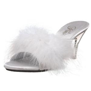 Blanc 8 cm BELLE-301F plumes de marabout Mules Chaussures