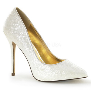 Blanc Etincelle 13 cm AMUSE-20G Chaussures Escarpins de Soirée
