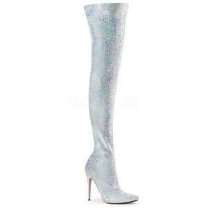 Blanc Glitter 13 cm COURTLY-3015 bottes cuissardes pleaser