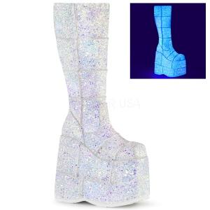 Blanc Glitter 18 cm STACK-301G bottes demonia - bottes de cyberpunk unisex