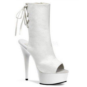Blanc Mat 15 cm DELIGHT-1018 Plateforme Bottines