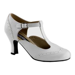Blanc Mat 7,5 cm FLAPPER-26 Escarpins Chaussures Femme