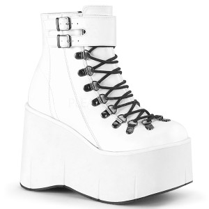 Blanc Similicuir 11,5 cm KERA-21 bottines lolita talons compensées