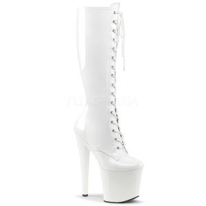Blanc Similicuir 19 cm TABOO-2023 plateformes bottes à lacets pour femmes
