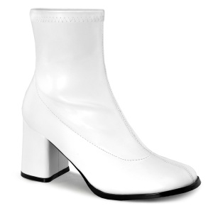 Blanc Similicuir 7,5 cm GOGO-150 bottines à talons épais stretch