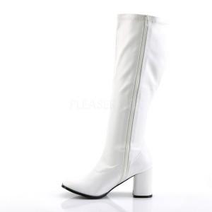 Blanc Similicuir 7,5 cm GOGO-300WC bottes femme mollets et jambes larges