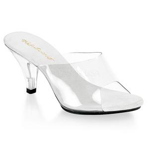 Blanc Transparent 8 cm BELLE-301 Chaussures Mules pour Hommes
