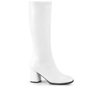 Blanc Vegan 7,5 cm GOGO-300-2 bottes à talon carré