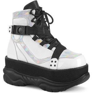 Blanc Vegan 7,5 cm NEPTUNE-181 bottines demonia - bottines de cyberpunk unisex