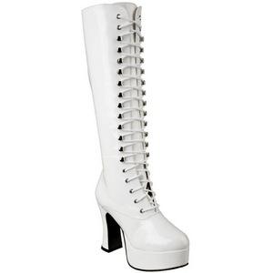 Blanc Verni 10,5 cm EXOTICA-2020 Bottes à Lacets Femmes