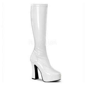 Blanc Verni 13 cm ELECTRA-2000Z Plateforme Bottes Femmes