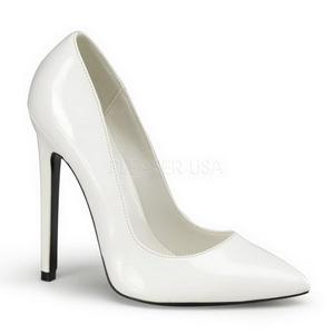 Blanc Verni 13 cm SEXY-20 escarpins à talon aiguille bout pointu