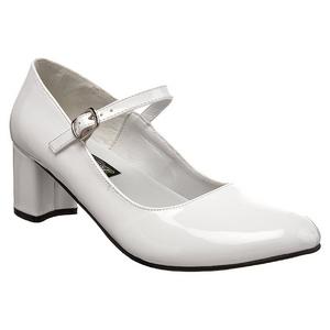 Blanc Verni 5 cm SCHOOLGIRL-50 Chaussures Escarpins Classiques