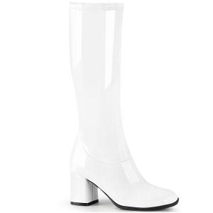 Blanc Verni 7,5 cm GOGO-300-2 bottes à talon carré