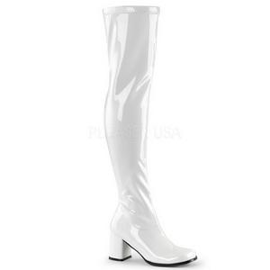 Blanc Verni 8 cm GOGO-3000 bottes cuissardes hommes
