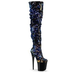Bleu Paillettes 20 cm FLAMINGO-3004 bottes overknee plateforme de pole dance