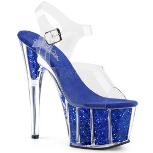 Bleu paillettes 18 cm Pleaser ADORE-708G chaussure à talons de pole dance