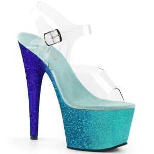 Bleu paillettes 18 cm Pleaser ADORE-708OMBRE chaussure à talons de pole dance
