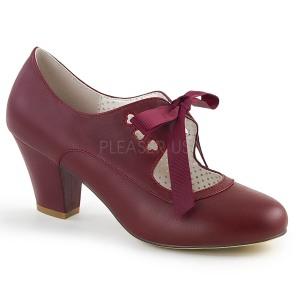 Bordeaux 6,5 cm WIGGLE-32 Pinup escarpins femmes à talons épais
