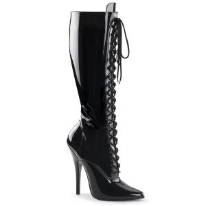Bottes hautes talons aiguilles à lacets 16 cm bottes pointues noires cuir verni