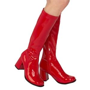 Bottes rouges en cuir verni années 70 - hippie disco gogo botte haute à talon carré 7,5 cm