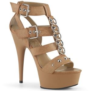 Brun Similicuir 15 cm DELIGHT-658 chaussures pleaser talons hauts