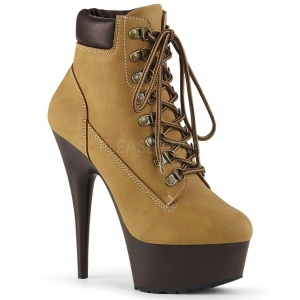 Brun Suédine 15 cm DELIGHT-600TL-02 bottines pleaser plateforme