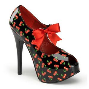 Cerise Noir 14,5 cm Burlesque TEEZE-25-3 Chaussures pour femmes a talon