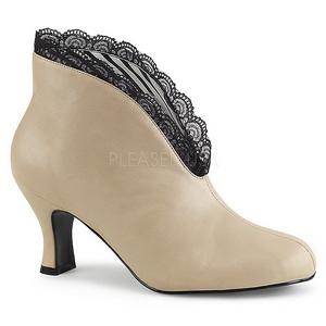 Creme Similicuir 7,5 cm JENNA-105 grande taille bottines femmes