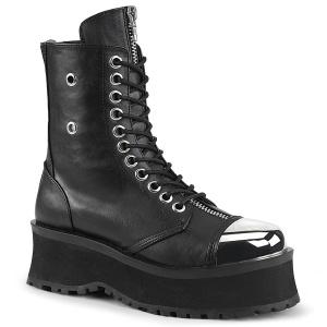 Cuir Vegan GRAVEDIGGER-10 bottes à cap d acier - bottes de combat unisex