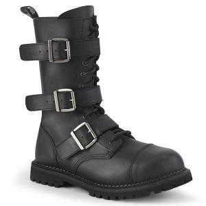 Cuir Vegan RIOT-12BK bottes à cap d acier - bottes de combat demonia