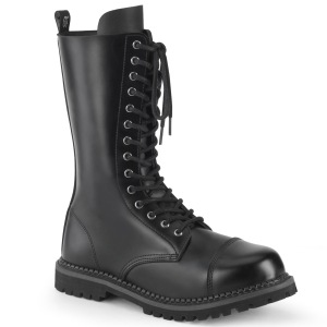 Cuir véritable RIOT-14 bottes à cap d acier - bottes de combat demonia
