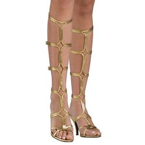 Doree 8 cm ROMAN-10 spartiates hautes genoux sandales gladiateur