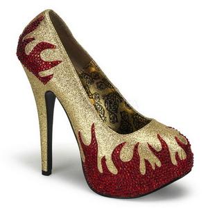 Dorée Pierres Scintillantes 14,5 cm Burlesque TEEZE-27 Chaussures femmes a talon