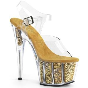 Dorée paillettes 18 cm Pleaser ADORE-708G chaussure à talons de pole dance